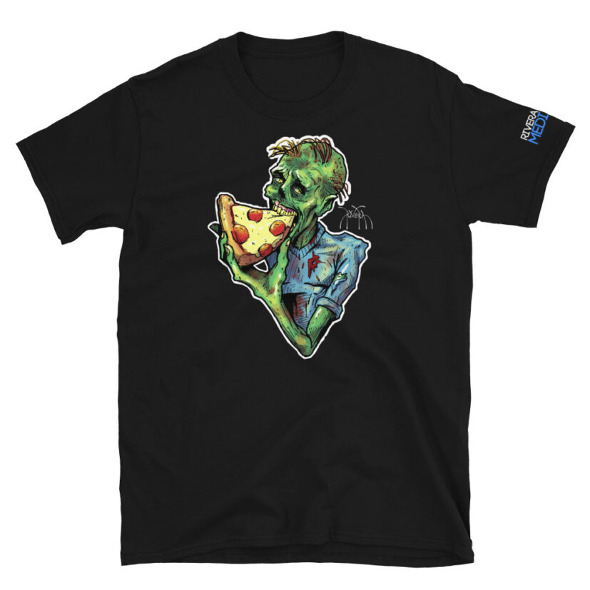 rivera_media_fine_art_high_quality_soft_limited_edition_custom_street_art_tshirt_featuring_art_by_david_rivera_riveramedia_zombizza_zombie_pizza